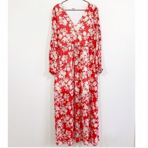 Moon and sky red and white floral maxi